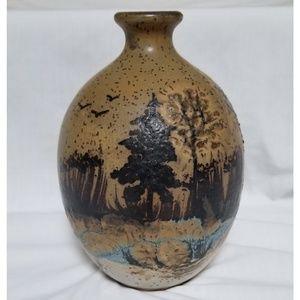 Pottery Vase Jim McAnallen Signed Vintage Nature